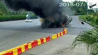 Refrigerator truck carrying grapes self-ignites in southwest China