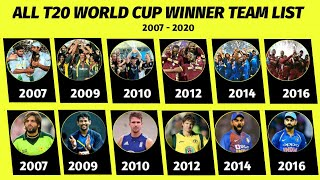 T20 World Cup Champions Team List | All T20 World Cup Winner Teams From 2007 to 2020