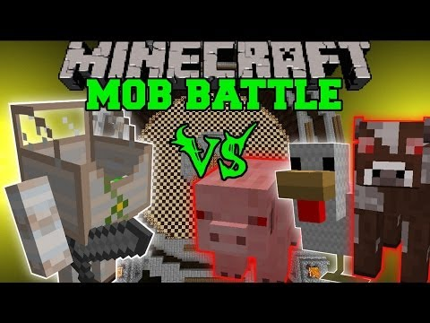 MECHA GOLEM VS MUTANT COW MUTANT SHEEP MUTANT PIG MUTANT CHICKEN Minecraft Mob Battles Mods