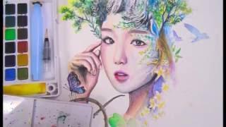 Painting Forest Girl with Sakura Koi Watercolor   Speed Art