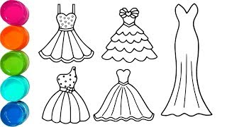 Cute Princess Dress Coloring Pages - Cute Coloring Books For Kids - Video for Toddler