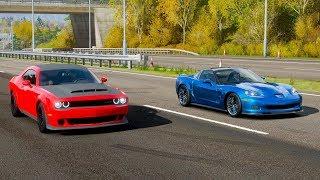 Forza Horizon 4 Drag race: Dodge Demon vs Chevrolet Corvette Zr1 (C6)