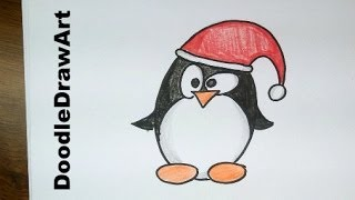 Drawing: How To Draw a Cute Cartoon Christmas Penguin Tux - Easy!  Step by Step drawing lesson