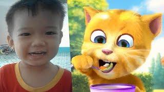 Rửa mặt như mèo Lk nhạc thiếu nhi nu-ti 2 tuổi hát cùng mèo ginger talking ginger - video cho bé yêu