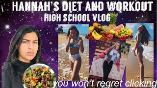 I tried following Hannah Meloche's diet and workout for a day + high school vlog