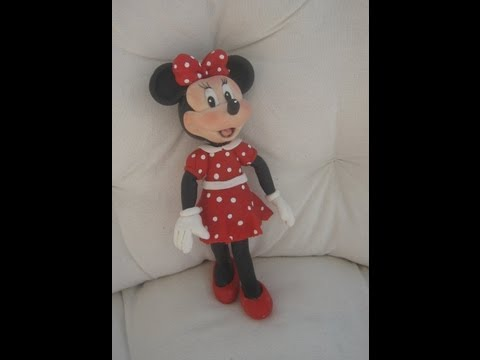 1° Parte Minnie Mouse de vermelho Topo do Bolo ( cake topper ) Biscuit / Porcelana Fria