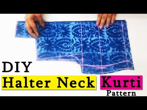 DIY Halter Neck Kurti Cutting ( Step by Step ) In Easy Way