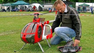 HUGE RC HUGHES-500 SCALE MODEL ELECTRIC HELICOPTER FLIGHT DEMONSTRATION