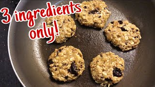 (NO OVEN) 3-INGREDIENT BANANA OATMEAL COOKIES || QUICK & EASY