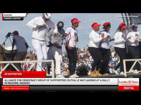Alliance of Democrats (AD) supporters at a star rally in Masowe, Maseru
