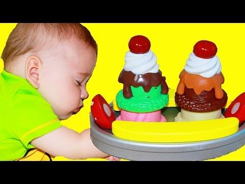 ICE CREAM CART ~ Baby Cooking  Baby Making & Eating ICE CREAM TOY Melissa Doug Sundae Banana Slit
