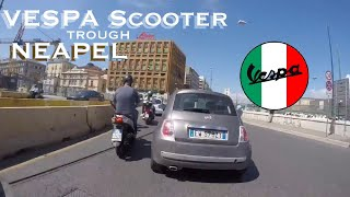 Vespa Scooter drive through NAPLES, Italy traffic without accident