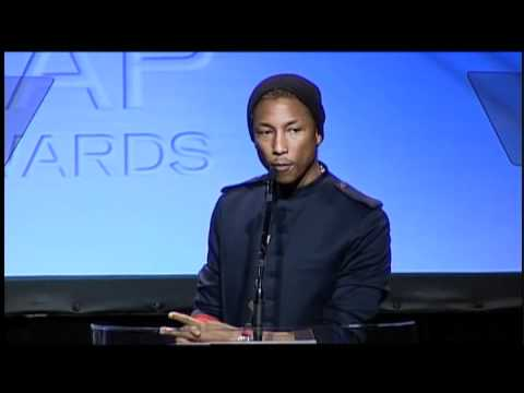 Pharrell Williams Accepts His Golden Note Award at the 2012 ASCAP Rhythm & Soul Awards