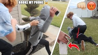 My GIRLFRIENDS Ex Boyfriend BROKE My PHONE! (WE TACKLED HIM)