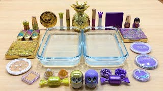 Special Series #12 PURPLE vs GOLD | Mixing Makeup Eyeshadow into Clear Slime! Satisfying Slime Video