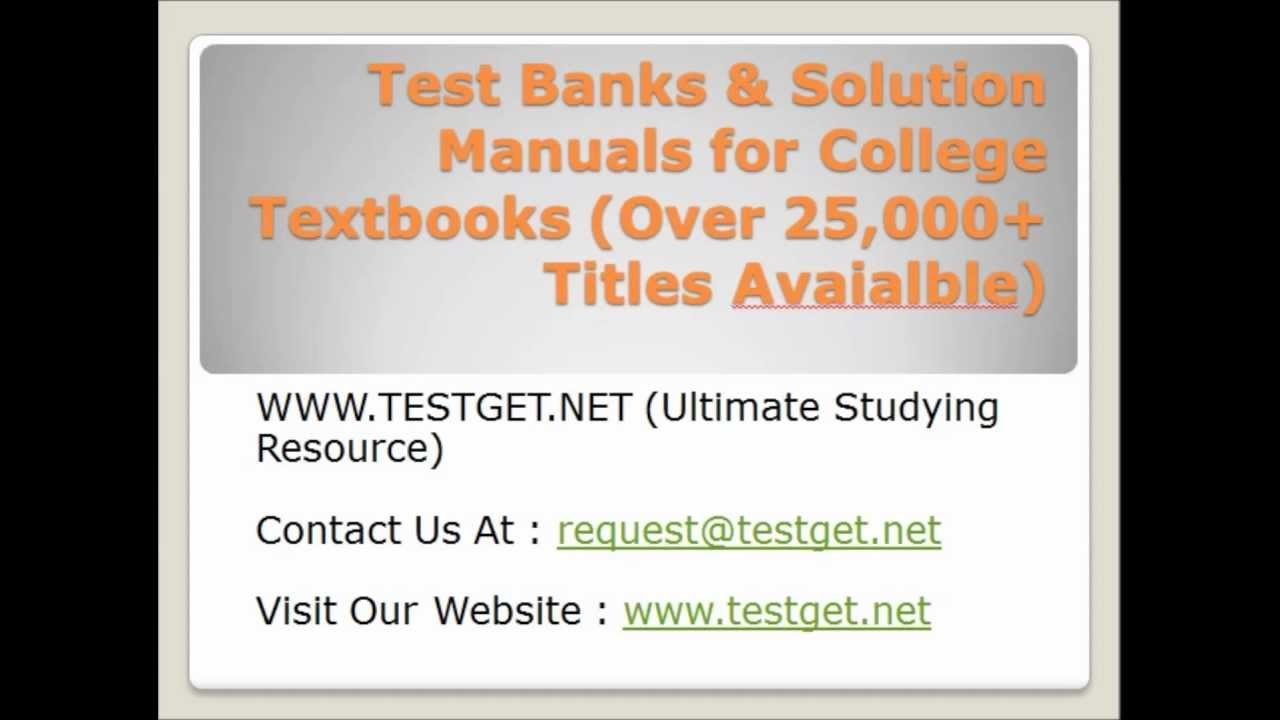 solution manual test bank and instructor Test banks and solution manuals download free sample here to see what is in this instructor manual + test bank for influence: scienc $4900.