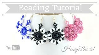 Starburst Delight Earrings by HoneyBeads1 (with piggy and rounduo beads)