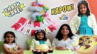 Happy Birthday Surprise Celebration - Cutie Smash Birthday Cake Little Sisters Opening Toys Presents