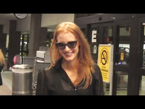 Jessica Chastain Charms Her Fans At LAX