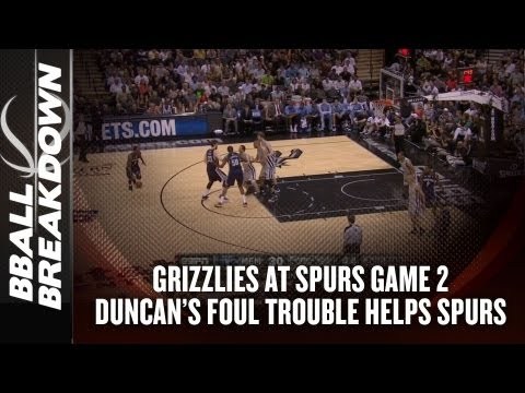 2013 NBA Playoffs: Grizzlies at Spurs Game 2 - Duncan Foul Trouble Helps Spurs