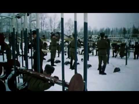 Soviet soldiers weight training in the snow