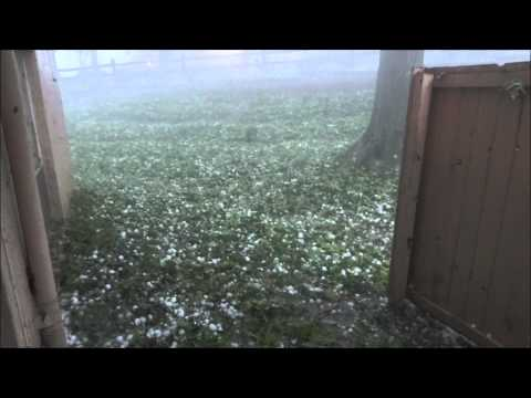 Severe hail storm in Maryland Heights, Missouri, 4/28/12 3 inch size hail busted just about every car in the neighborhood.