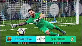 PES 2018 | goalkeeper L.MESSI vs goalkeeper C.RONALDO | Penalty Shootout | Barcelona vs Real Madrid
