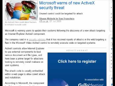 Microsoft warns of ActiveX threat in Internet Explorer
