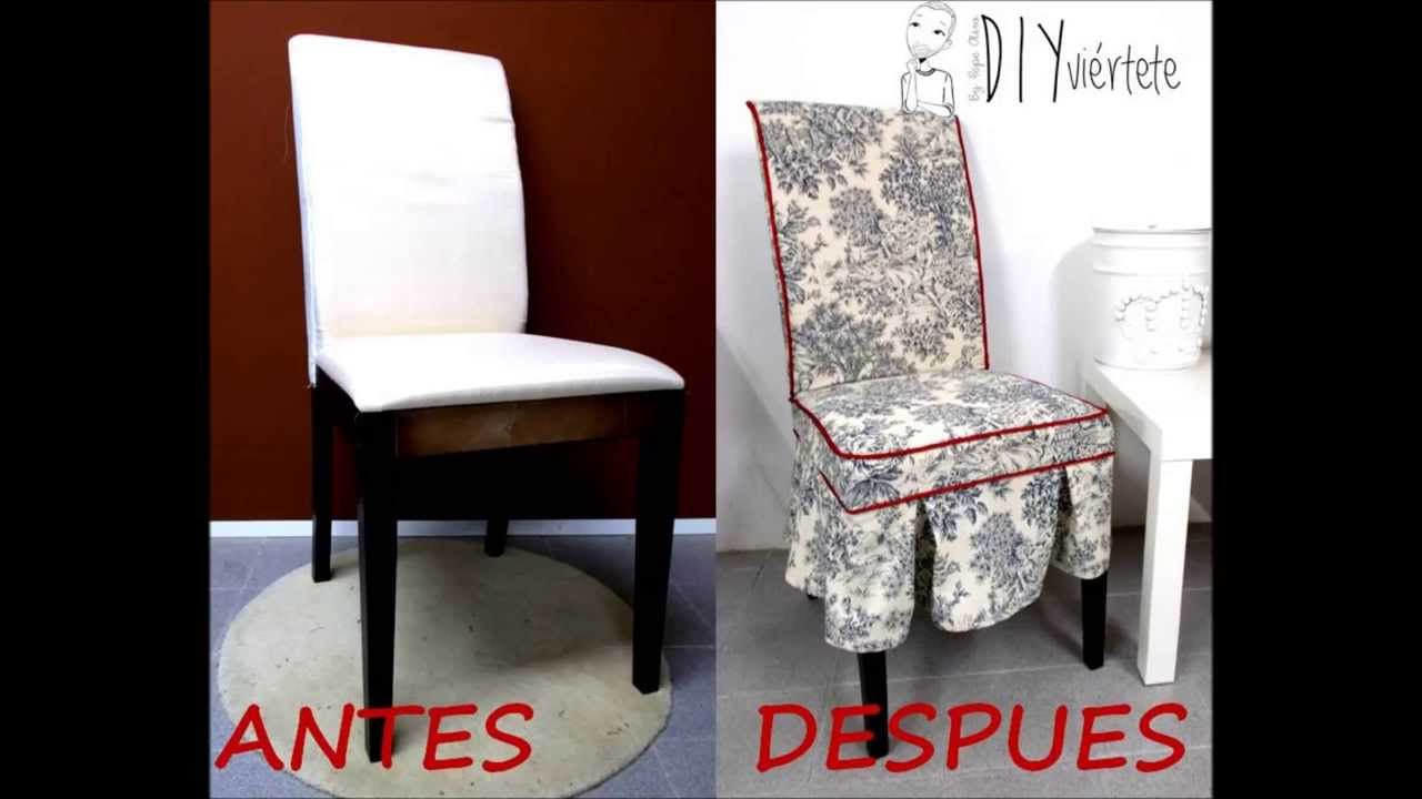 Funda para silla estampado toile de jouy youtube for Hacer cojines para sillas