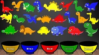Dinosaur Colors Song, Color Sorting For Kids Educational Video Kindergarten Preschool Game