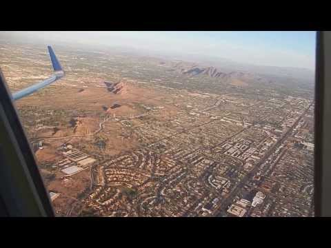 United Airlines B-737-900 Takeoff from Phoenix Sky Harbor Intl. Airport (PHX),1st Class,Seat 1A. HD