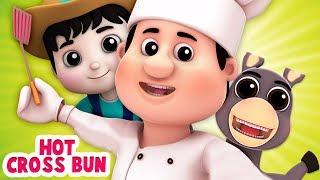 chéo nóng bánh | vần điệu cho trẻ em | 3D Nursery Rhyme | Hot Cross Buns