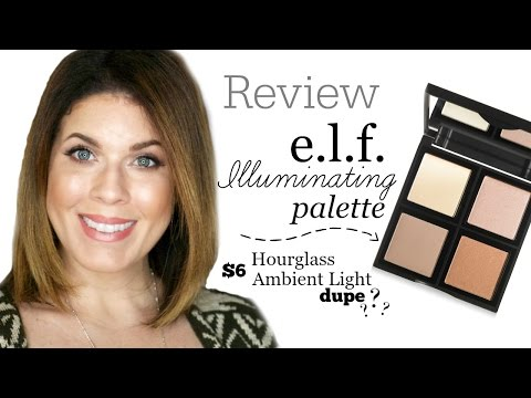 Review: e.l.f. Illuminating Palette   Hourglass Ambient Powder Dupe?   @girlythingsbye