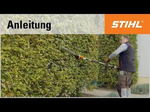 Schnitt-Technik Akku-Heckenschneider: senkrechter Schnitt mit abgewinkeltem Messerbalken