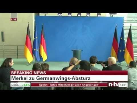 Statement von Angela Merkel zum Flugzeugabsturz des Airbus A320 in Süd-Frankreich - n-tv