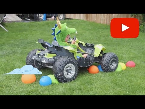 Little Kid Dragon Runs Water Balloons over with Toy Car - Fail Hard to POP Big Water Balloons