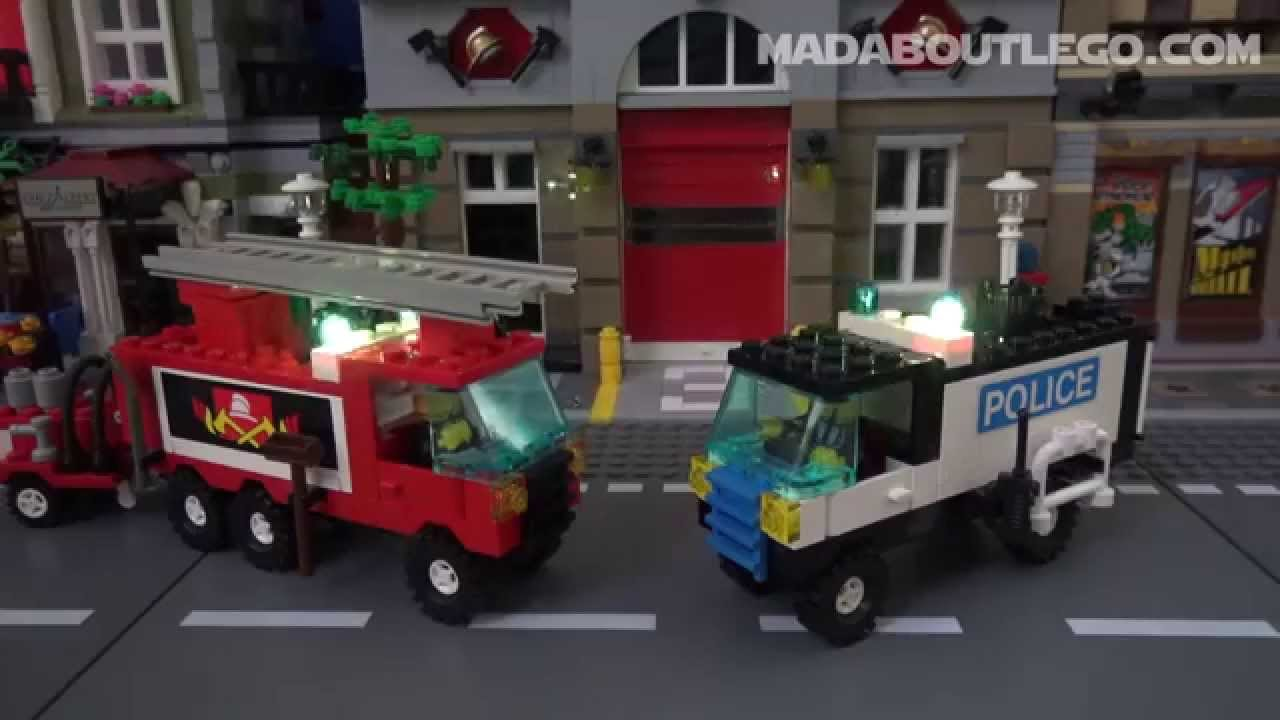 Lego Fire And Police Trucks Youtube