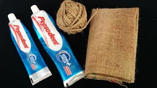 DIY:Wall Hanging Idea!!! How to Make Beautiful Wall Hanging With Pepsodent / Twine and Jute Bag!!!