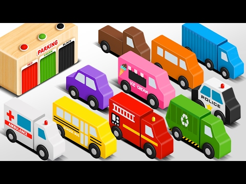 Colors for Children to Learn with Wooden Street Vehicles Toys - Colors and Shapes Video Collection