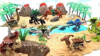 Dinosaur Island With 3 Volcano. Learn Dinosaur Name With Lego Dino Rex, Brachiosaurus, Spinosaurus