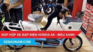[Đập hộp] Xe đạp điện Honda A6 - Màu Xanh | 0979.66.22.88 | Xebaonam.com