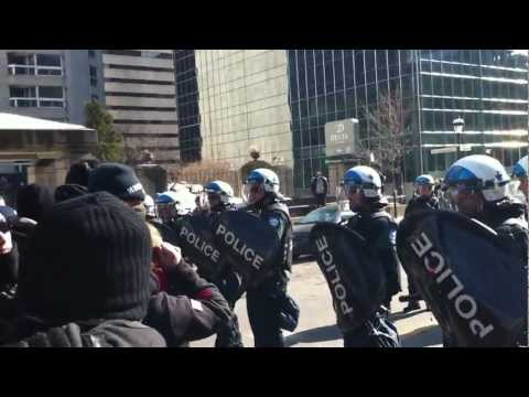 Riot Cops Take on Student Demonstrators in Montreal March 7, 2012