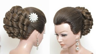 New Latest Hairstyle. Bridal Hair. Bun Updo Tutorial
