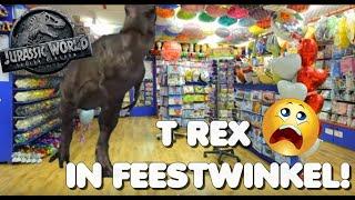 T Rex Jurassic World neemt Feestwinkel Altijd Feest over.