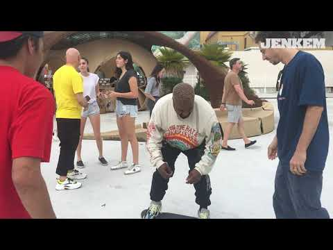 Kanye West learns to ollie @ Jenkem x Andrew Block Party 2018