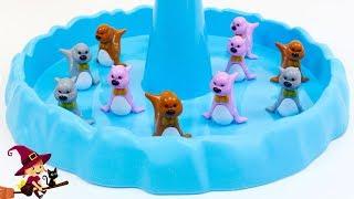 Juego de Mesa de Adorables Foquitas que se Balancean sobre un Iceberg
