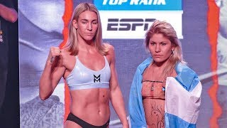 Mikaela Mayer vs Lizbeth Crespo WEIGH IN & FINAL FACE OFF | Tyson Fury vs. Tom Schwarz Undercard