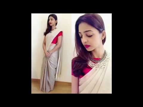New plain saree with designer blouse design