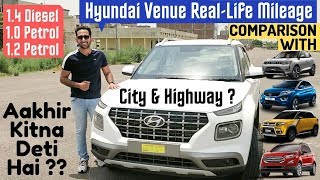 Hyundai Venue Real Life Mileage by Owners & Comparison with XUV300, Brezza, Nexon, EcoSport, WRV 🔥