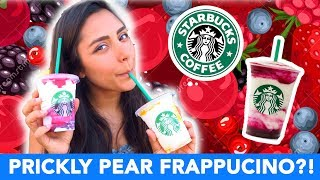 STARBUCKS BERRY PRICKLY PEAR + MANGO PINEAPPLE FRAPPUCCINO TASTE TEST! 🍍